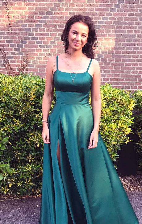 pretty girl in green jade prom dress eveningwear brunette