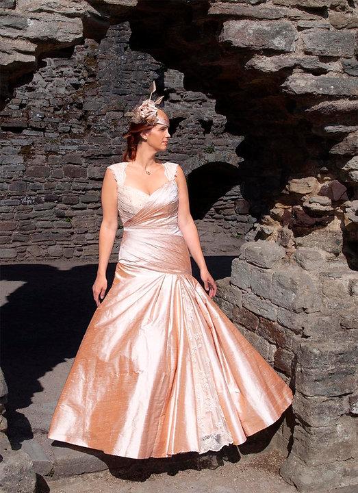 Pink Amber Wedding Dress Designer Hat Stones Castle