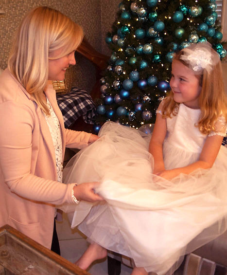 Emma Katie and little girl desinger wedding dress christmas tree