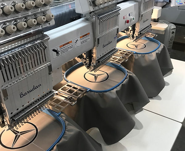 Embroidered mercedes limo seats