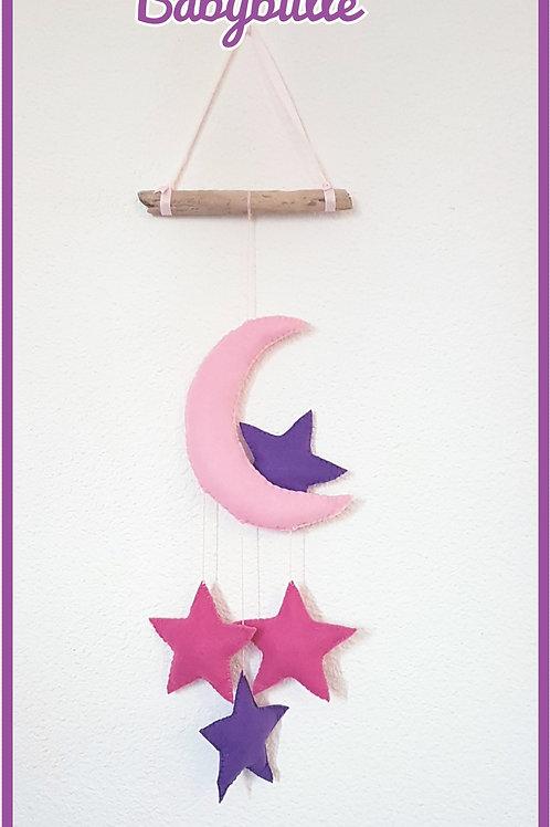 Suspension lune et étoile sur bois flotté