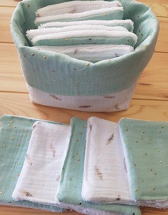 Panière et ses 10 lingettes lavables double gaze de coton