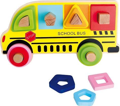 Puzzle à encastrer forme bus scolaire