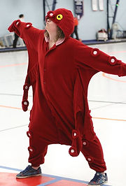 Mascot dressed as a red octopus