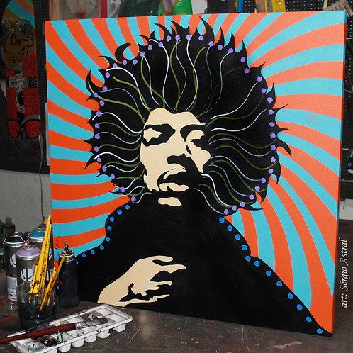 Pintura Jimi Hendrix 3  ( tamanho 70x70cm)