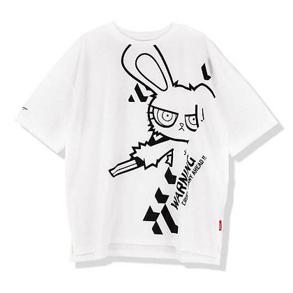 Bloody Bunny  Warning Oversized T-shirt  (Print-Black)