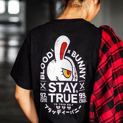 BLOODY BUNNY(STAY TRUE) BLACK T-SHIRT