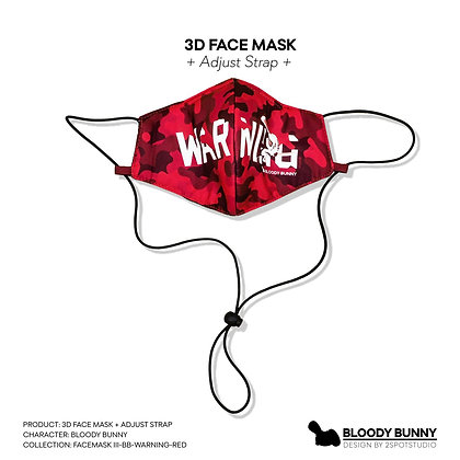 Bloody Bunny (Warning Red) Face Mask with Adjustable Strap