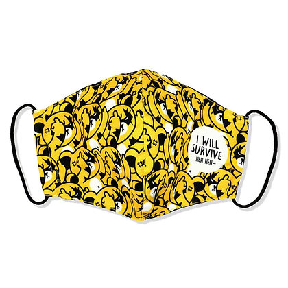 Serious Kuma (Multi-Yellow) Face Mask with Nose clip