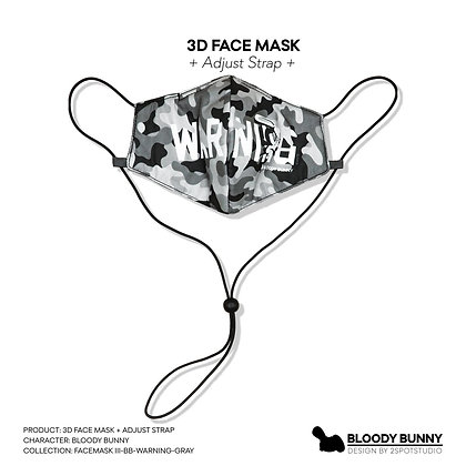 Bloody Bunny (Warning Gray) Face Mask with Adjustable Strap