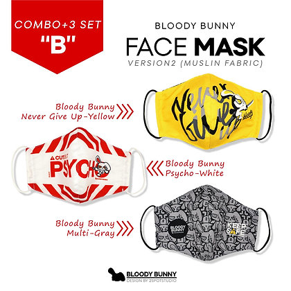 Bloody Bunny Face Mask ( Set:B / 3 Pcs)