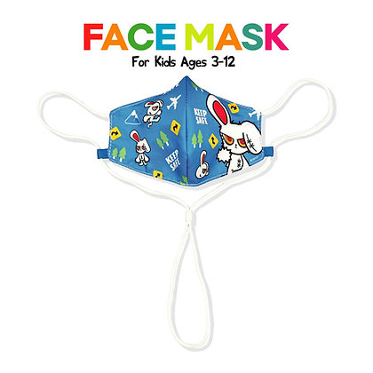 BLOODY BUNNY FACE MASK KIDS (SAFE / BLUE)
