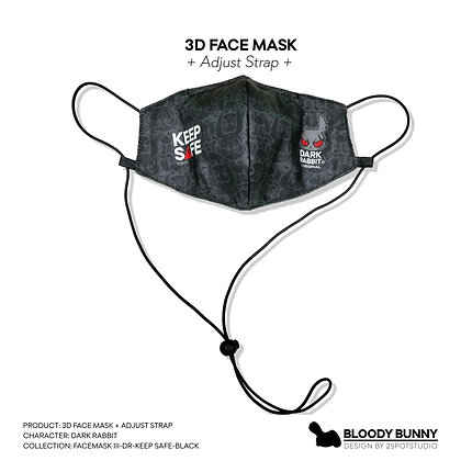 Dark Rabbit (Keep Safe) Face Mask with Adjustable Strap