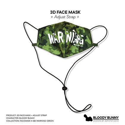Bloody Bunny (Warning Green) Face Mask with Adjustable Strap