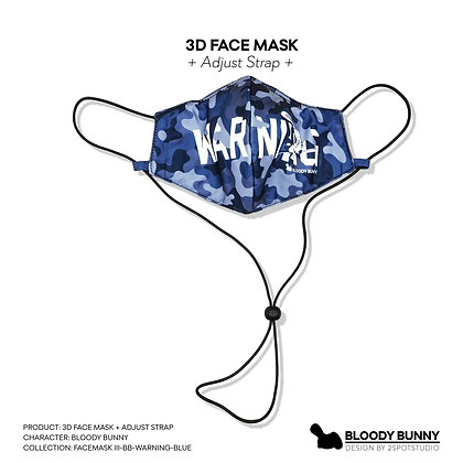 Bloody Bunny (Warning Blue) Face Mask with Adjustable Strap