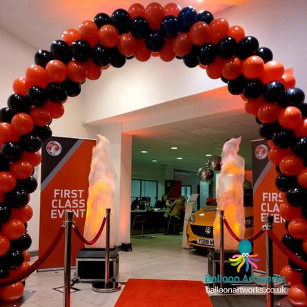 Red and Black Balloon Arch for a Car Showroom New Car Reg Promotion Derby Derbyshire Nottingham Nottinghamshire by Balloon Artworks Ripley