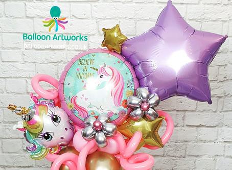 Unicorn party balloon centrepieces