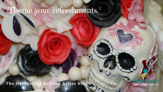 Day of the Dead Halloween cake. Photography by Balloon Artworks, the Derbyshire Balloon Artist.