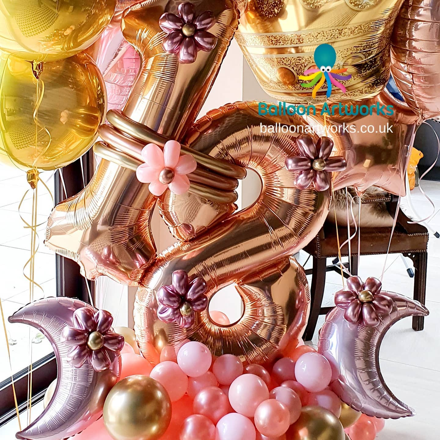 18th rose gold birthday balloon display