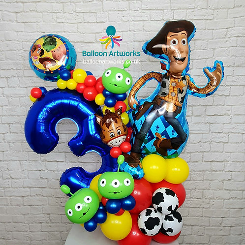 Toy Story Themed Balloon Number Display