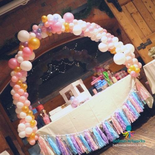 Organic balloon table arch