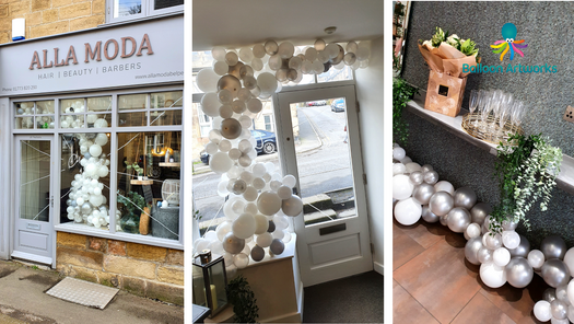 White and Silver Organic Balloon Arch Shop Window Display Belper by Balloon Artworks Ripley Derbyshire