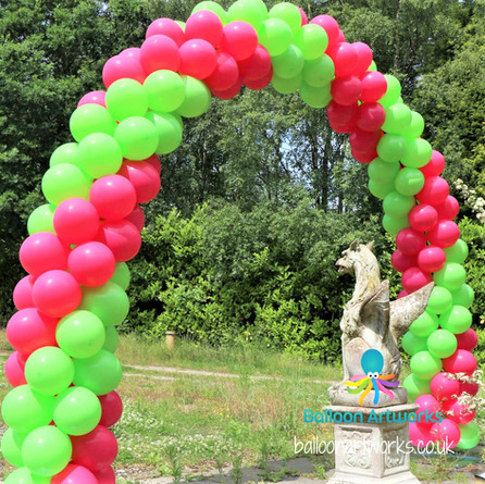 Outdoor balloon arch two colour double spiral Balloon Artworks Derby Nottingham Chesterfie