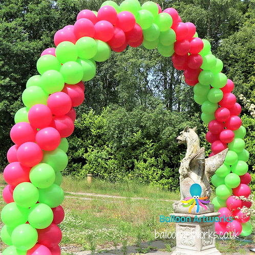 Outdoor balloon arch - two colour double spiral