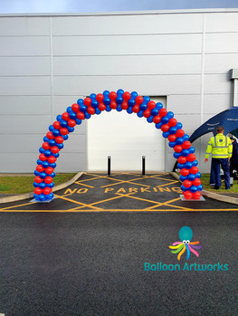 Red and Blue Outdoor Balloon Arch for Derbyshire Fire and Rescue Open Day Butterly Derbyshire by Balloon Artworks Ripley Amber Valley