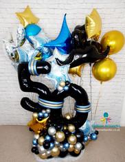 50th Birthday Balloon Bouquet in Black Blue and Gold - Ripley Alfreton Swanwick Belper Amber Valley Derbyshire
