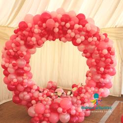 Circular organic wedding arch balloon arch Derbyshire Balloon Artworks Ripley