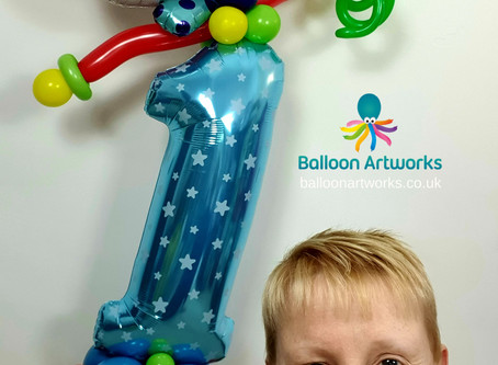 Circus Themed Party Balloon Decorations for a 1st Birthday