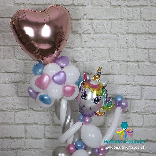Unicorn balloon heart bouquet