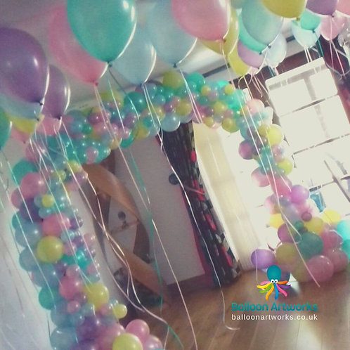 Organic pastel balloon arch