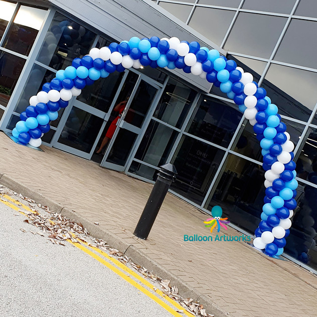 Blue and White Balloon Arch for a Corporate Event at Pride Park, Derby, Derbyshire by Balloon Artworks Ripley