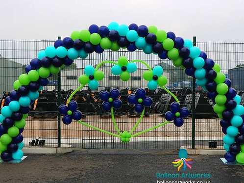 Blue and green balloon arch