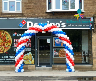 Red White and Blue Spiral Garland Balloon Arch for a New Store Opening Derby Derbyshire Nottingham Nottinghamshire by Balloon Artworks Amber Valley