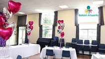 Hot pink and silver wedding anniversary decorations by Balloon Artworks of Ripley Derbyshire.