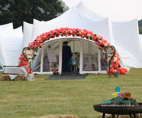 Organic balloon arch for marquee Derby Derbyshire Balloon Artworks
