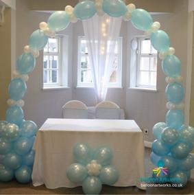 Blue wedding balloon arch Makeney Hall Belper Derbyshire Balloon Artworks Blackbrook Ambergate Allestree Quarndon.jpg