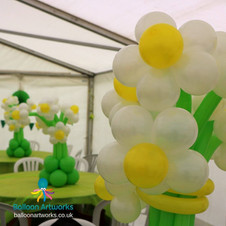 Balloon flower table centrepieces Derbys