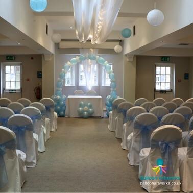 Blue wedding arch Makeney Hall Derbyshire Balloon Artworks.jpg
