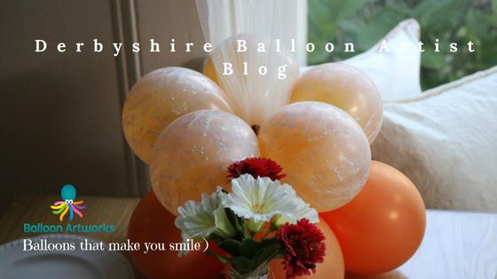 Balloon table centrepiece by Derbyshire Balloon Artist Melanie Allen of Balloon Artworks, wedding balloons Derby Nottingham Chesterfield Sheffield