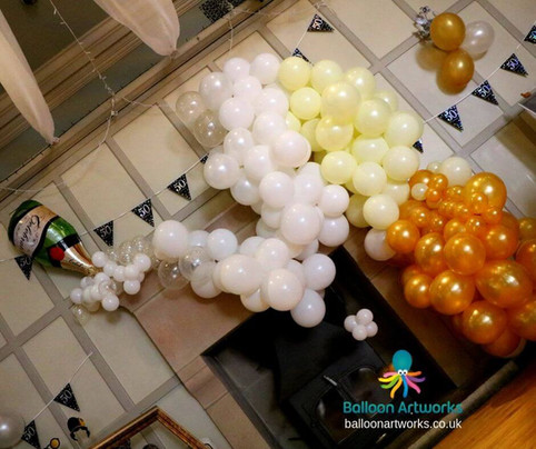 Organic champagne balloon decorations Matlock Derbyshire
