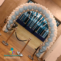 Pale blue silver and white wedding balloon arch Derbyshire