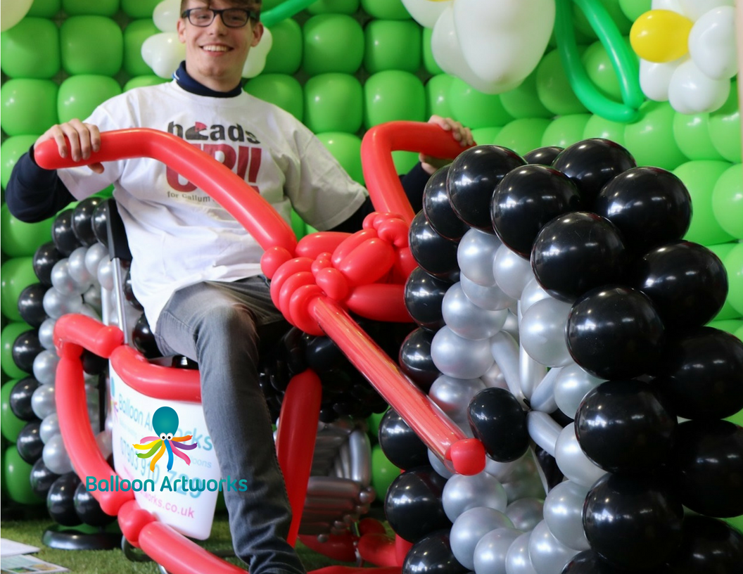Balloon motorbike sculpture made for Derby Garden Centre by Balloon Artworks of Ripley Derbyshire
