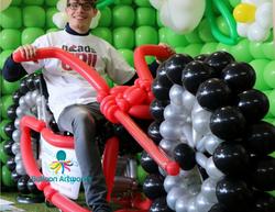 Balloon motorbike sculpture made for Derby Garden Centre by Balloon Artworks of Ripley Derbyshire