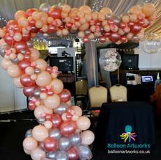 Organic balloon arch rose gold Derbyshire