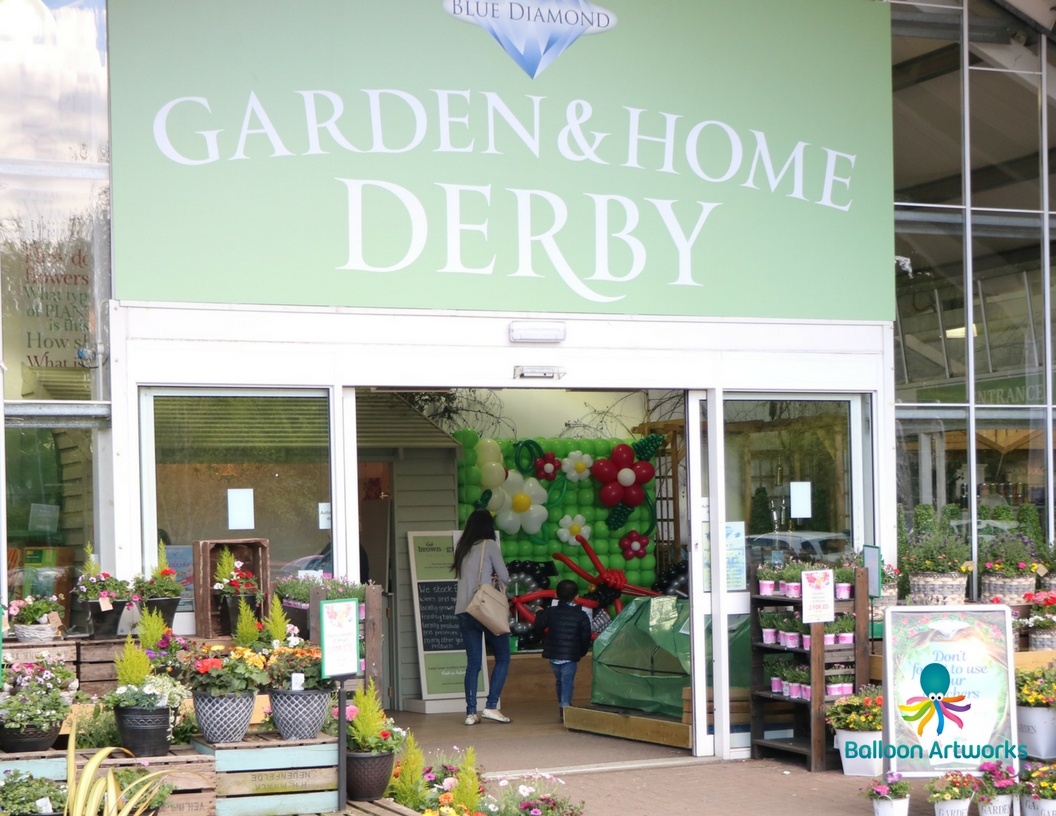 Balloon display for Derby Garden Centre foyer by Balloon Artworks Ripley Derbyshire