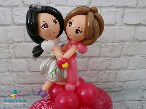 Bride and bride balloon sculpture